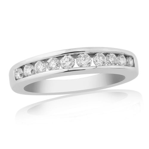 White Gold Diamond Eternity Ring Channel Set 50 Points